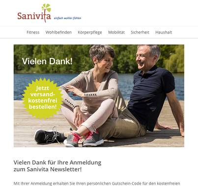 Sanivita newsletter Confirm